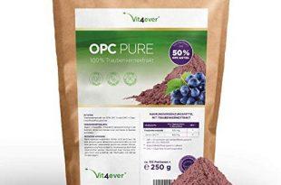 Vit4ever® OPC Traubenkernextrakt Pulver - 250 g - 312 Portionen mit 800 mg - Reines OPC aus europäischen Weintrauben - 50% OPC Gehalt nach HPLC Methode (95% nach Bate-Smith) - Laborgeprüft - Vegan
