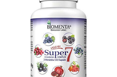 BIOMENTA Super7 – Antioxidantien Komplex – mit OPC Traubenkernextrakt 500x330 - BIOMENTA Super7 – Antioxidantien Komplex – mit OPC Traubenkernextrakt + Cranberry + Goji Beeren + Aronia Beeren + Granatapfel + Acai + Heidelbeeren - 2 Monatskur – vegan – 120 Antioxidantien Kapseln